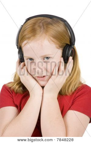 Girl Is  Listening To Music