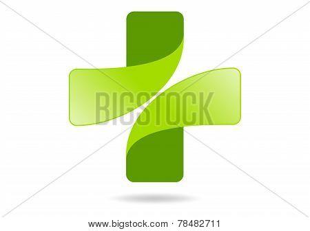 green cross medical vector logo design