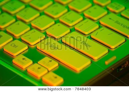 Keyboard of an open notebook