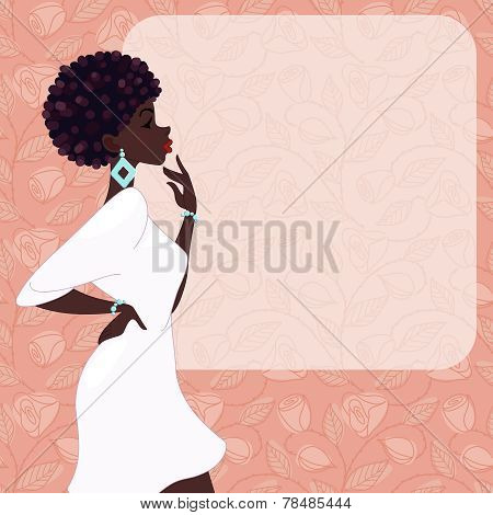 Dark-skinned woman on a pink background