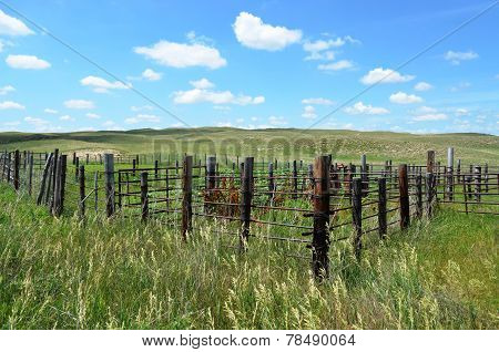 Livestock holding corral on the high plains