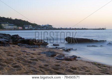 Black rock beach in Victoria, Australia