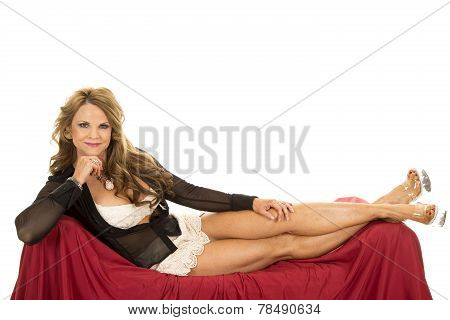 Older Woman In Sheer Outfit Lay On Red Smile