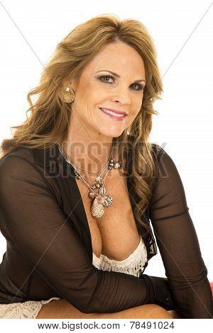 Woman Lace Bra Open Shirt Sit Close Smile