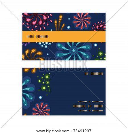 Vector holiday fireworks horizontal stripe frame pattern business cards set