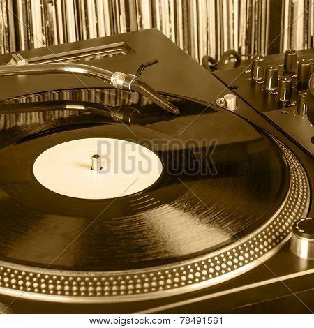 Dj Needle Stylus On Spinning Record