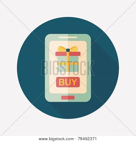 Cell Phone Online Shopping Flat Icon With Long Shadow,eps10