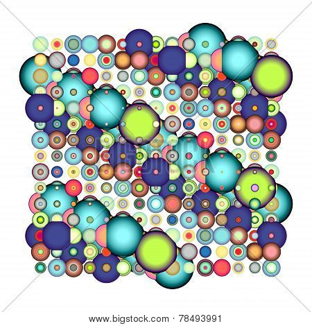 Abstract Bubble Pattern In Multiple Color Over White