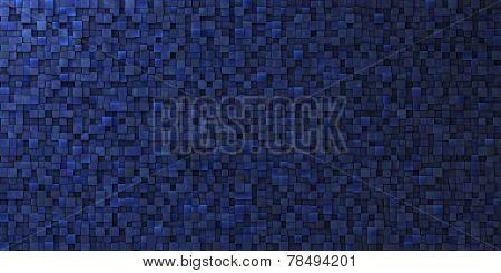 3D Irregular Grungy Mosaic Wall In Deep Blue