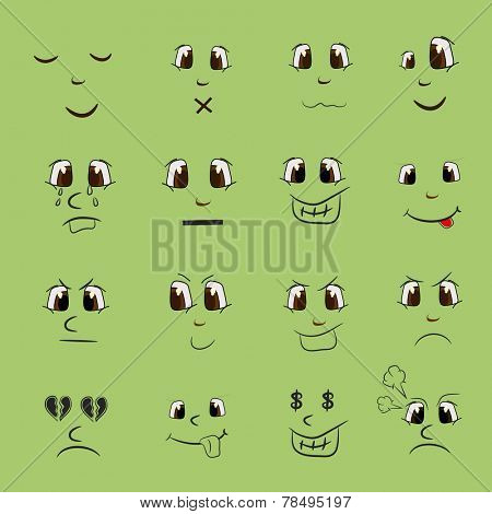 Set of different facial expressions on green background.