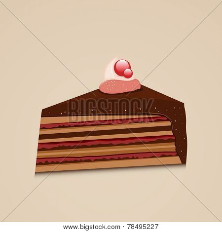 Tasty delicious cake slice design, can be used as restaurant menu card design.