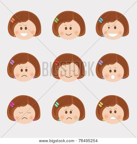 Set of different facial expressions of a girl cartoon character on grey background.