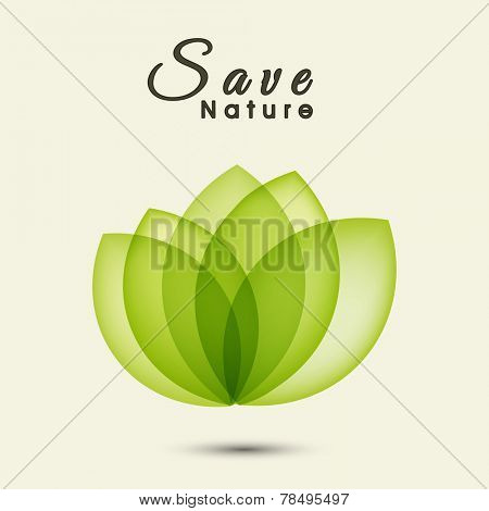 Beautiful green leaves for Save Nature concept on white background.