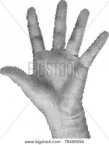 Vector Illustration of Round Raster Hand