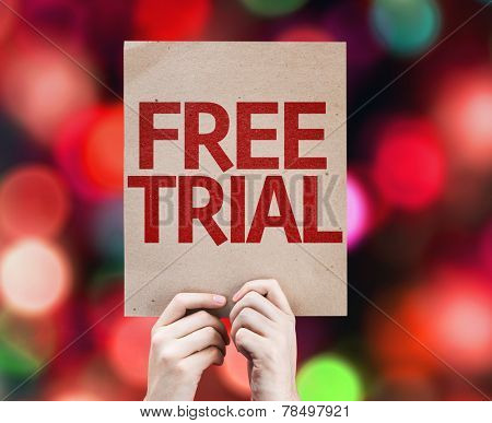 Free Trial card with colorful background with defocused lights