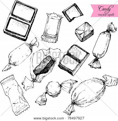 set of line drawing candy