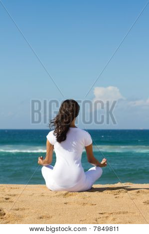 pretty woman meditating