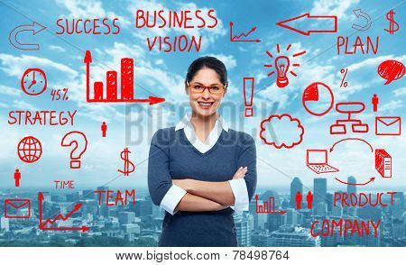 Young smiling Business woman near scheme background