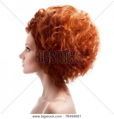 Beauty Portrait. Updo Hairstyle On White Background