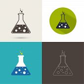 pic of reagent  - Set of vector icons with chemical flask with reagent - JPG