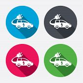 image of four-wheel  - Electric car sign icon - JPG