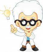 pic of physicist  - Cartoon illustration of a professor doing having an idea - JPG