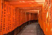 stock photo of inari  - Red Torii of Fushimi Inari Shrine Kyoto Japan - JPG