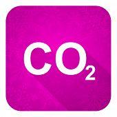 picture of carbon-dioxide  - carbon dioxide violet flat icon - JPG