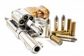 stock photo of ammo  - revolver and bullets on white background  - JPG