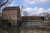 picture of covered bridge  - The Bollinger Mill with a covered bridge - JPG
