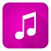 picture of christmas song  - music violet flat icon - JPG