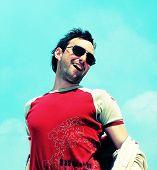 Trendy man. Happy smile poster