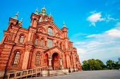 stock photo of cross hill  - Uspenski Cathedral Helsinki On Hill At Summer Sunny Day - JPG
