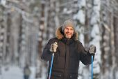 stock photo of nordic skiing  - Mature man cross - JPG
