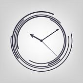 pic of watch  - Watch icon black vector time clock simple - JPG
