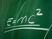 foto of einstein  - Einstein formula of relativity on school blackboard - JPG