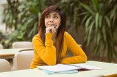 picture of canteen  - Young female college student doing homework in outdoor canteen - JPG