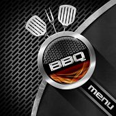 picture of barbecue grill  - Bbq menu design with metallic round barbecue symbol with metallic grill and flames on dark metal background with grill and kitchen utensils - JPG