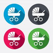 foto of buggy  - Baby pram stroller sign icon - JPG