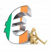 Постер, плакат: Кукла сидя на ирландский знак евро