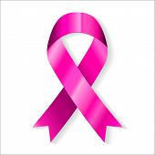 Image of pink ribbon isolated on white background. Vector illustrator eps 10.