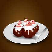 picture of gulab  - Sweet balls called gulab jamun with beautiful garnishing and spoon on brown background - JPG