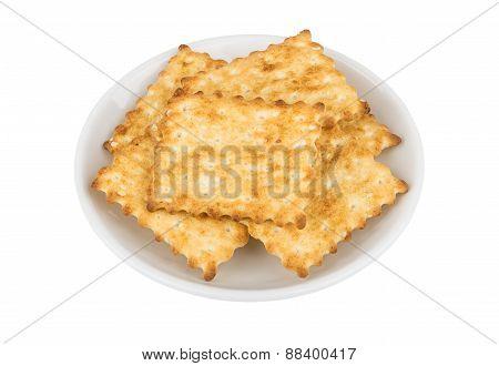 Delicious Biscuits In A White Glass Plate