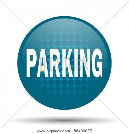 parking blue glossy web icon