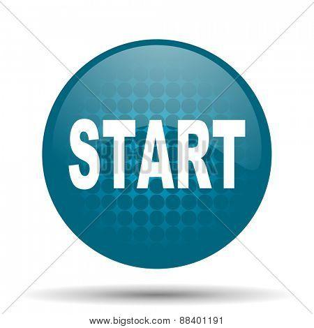 start blue glossy web icon