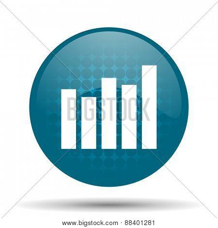 graph blue glossy web icon
