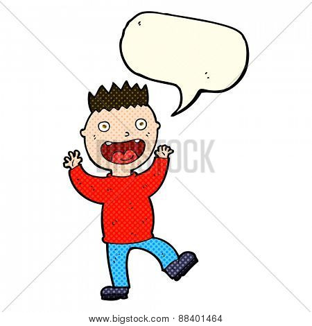 cartoon crazy happy man with speech bubble