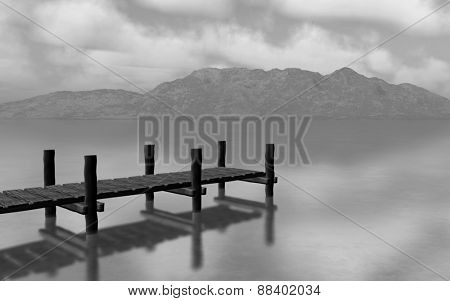 3D render of a black and white landscapw with jetty