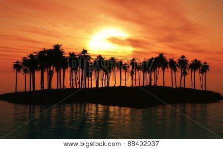 3D render of a palm tree island at sunset