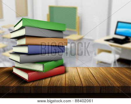 3D render of a wooden table and books with a defocussed classroom in the background